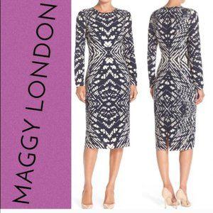 Maggy London Blue Tie Dye Print Dress